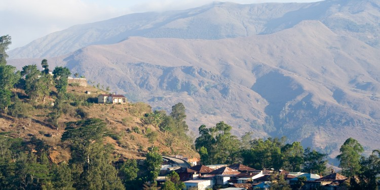 Houses on a ridge-line in Ainaro in the highlands of East Timor.