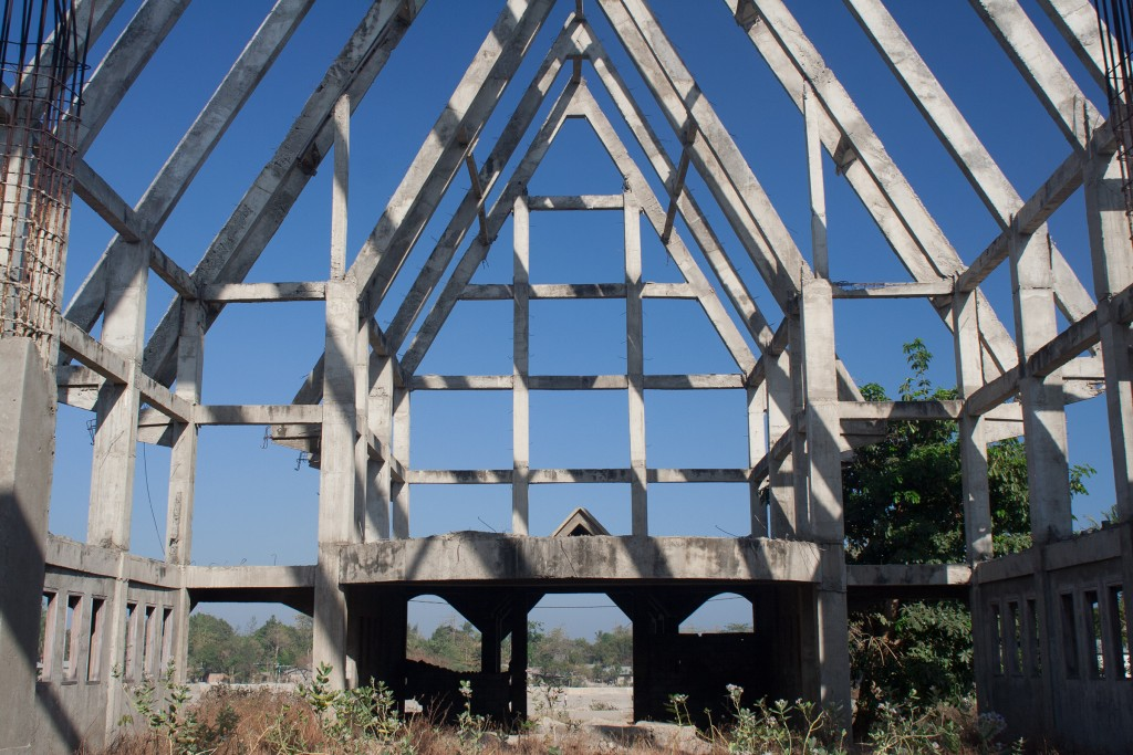 The concrete frame of a church abandoned halfway through construction somewhere in Dili.