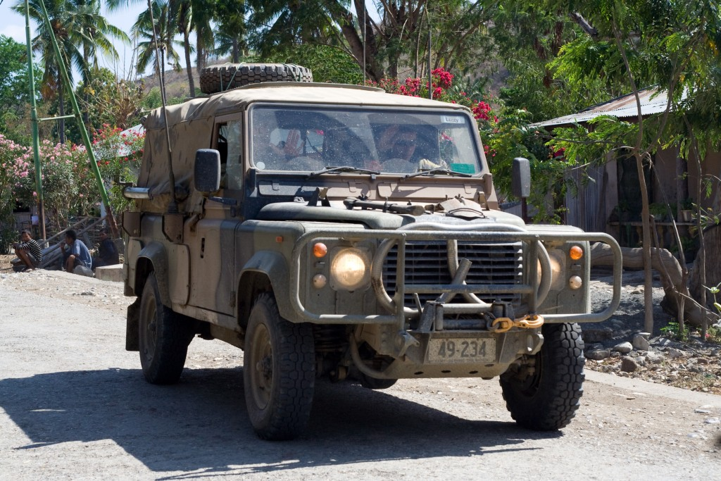 Australian peacekeepers on patrol - part of effort to police the country and apprehend rebel leader Alfredo Reinado who had attempted to assassinate the President and Prime Minister of East Timor earlier in the year.