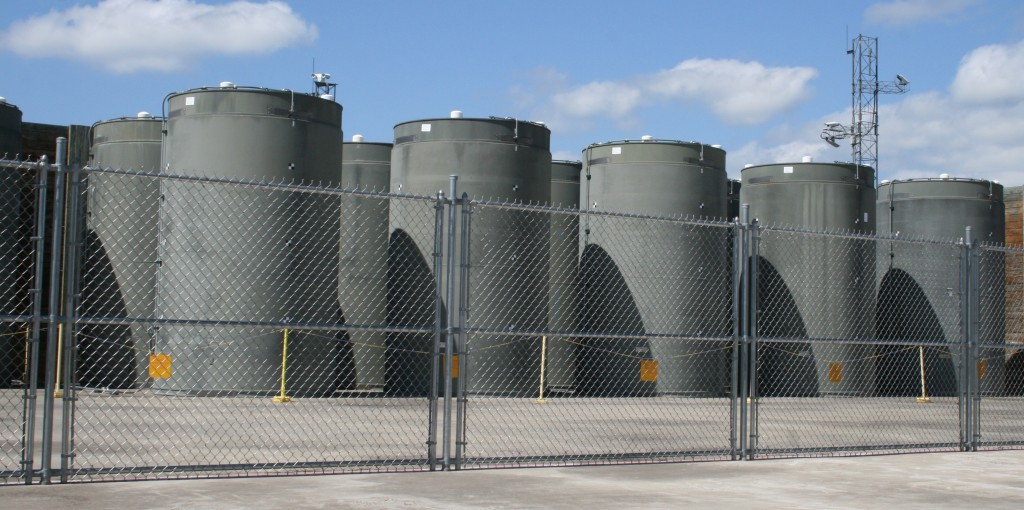 Dry casks outside Vermont Yankee