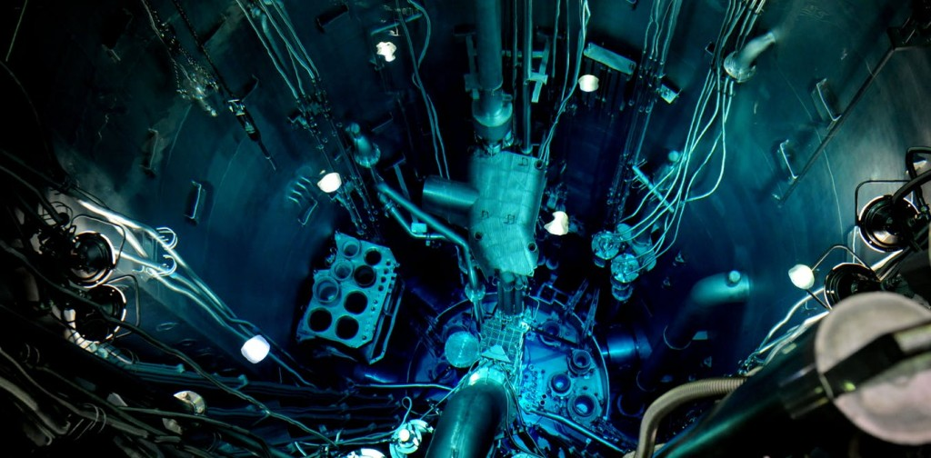 Looking down into the well of Australia's Lightwater reactor at Lucas Heights