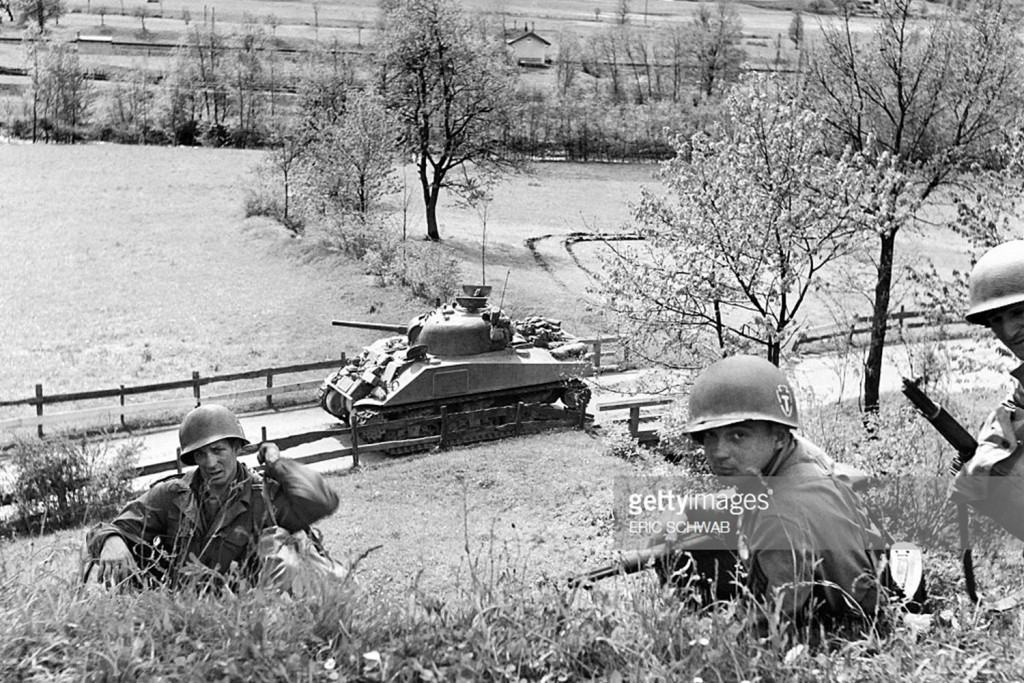 An M4 Sherman of the same type commanded by Jack Lee approaches Schloss Itter on May 4, 1945.