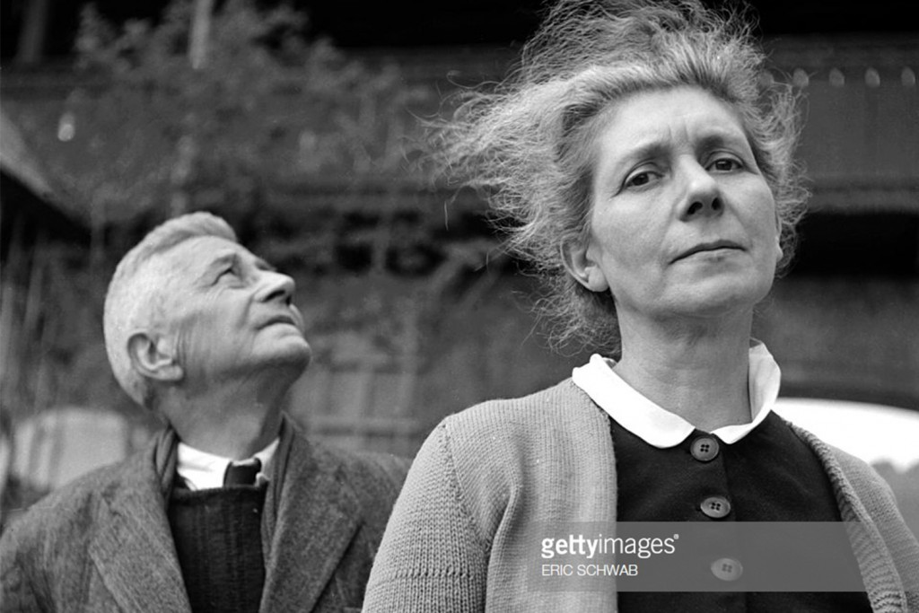 Marie-Agnes Cailliau (elder sister of General Charles de Gaulle) and her husband Alfred Cailliau are photographed in front of the Itter castle early May 1945, after it was liberated by the US army. Marie-Agnes Cailliau joined the French Resistance in 1940 and was arrested with her Belgian husband Alfred Cailliau in 1943.