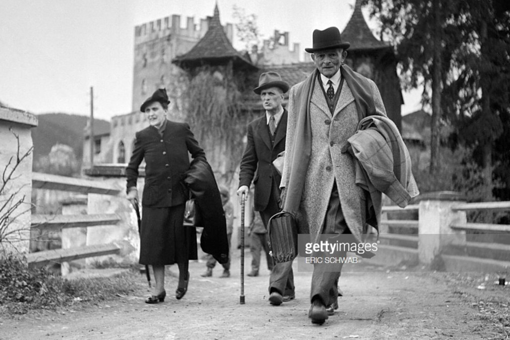 French General Maxime Weygand, his wife and an unidentified man leave Schloss Itter near Innsbrück on May 4, 1945
