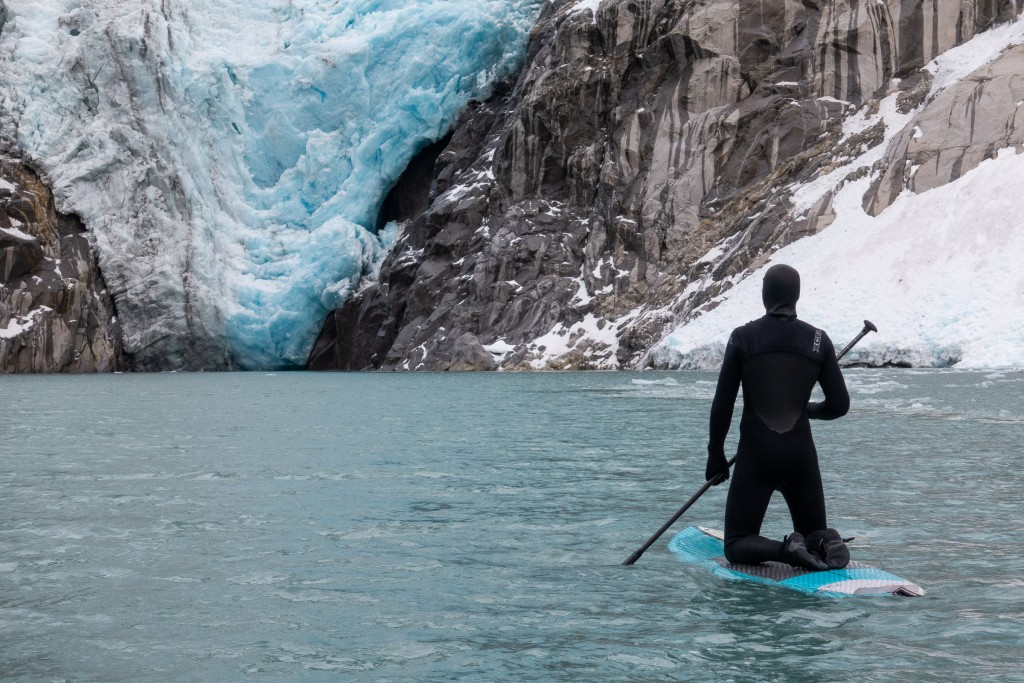 Max paddles out towards the foot of Northwestern Glacier.