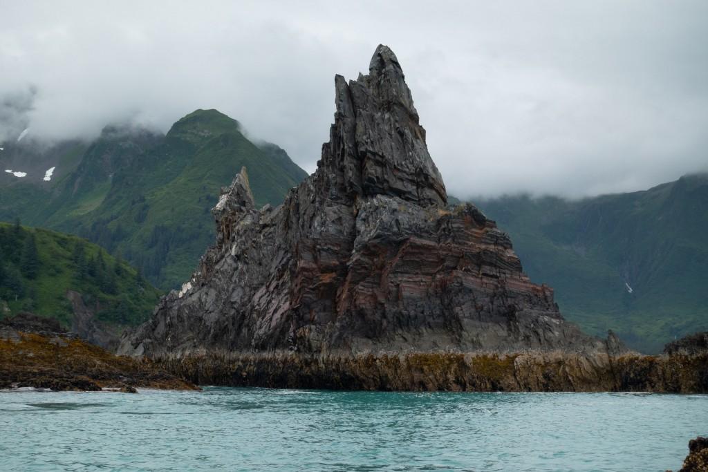 A shale rock formation off the coast near Bear Lagoon.