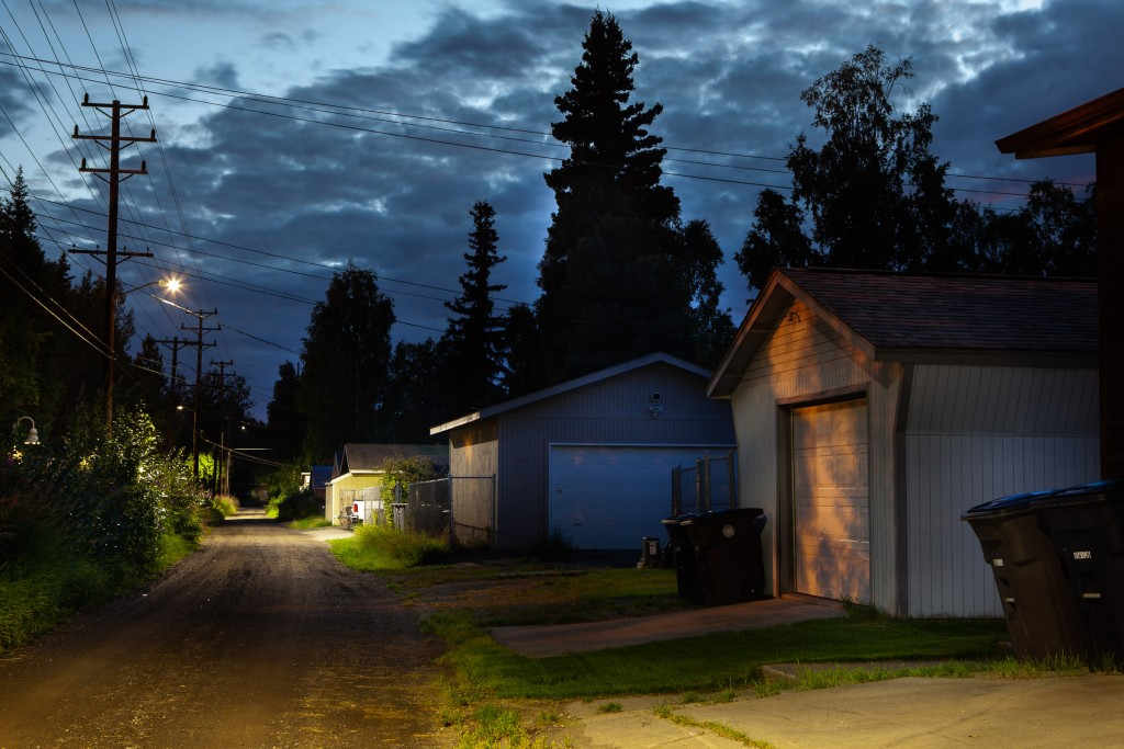 Scenes from after dark in the Anchorage suburb of Roger's Park.