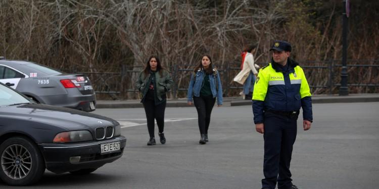A member of Georgia's reformed Politsiya directing traffic in Tbilisi.