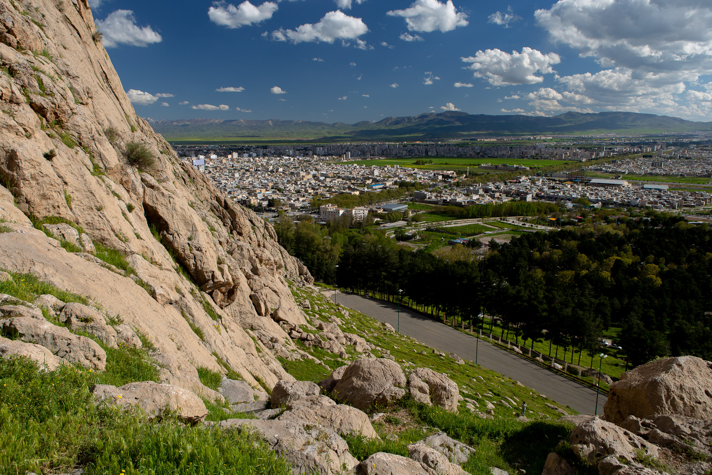 The view over Kermanshah from the foothills around the Taq-e Bostan.