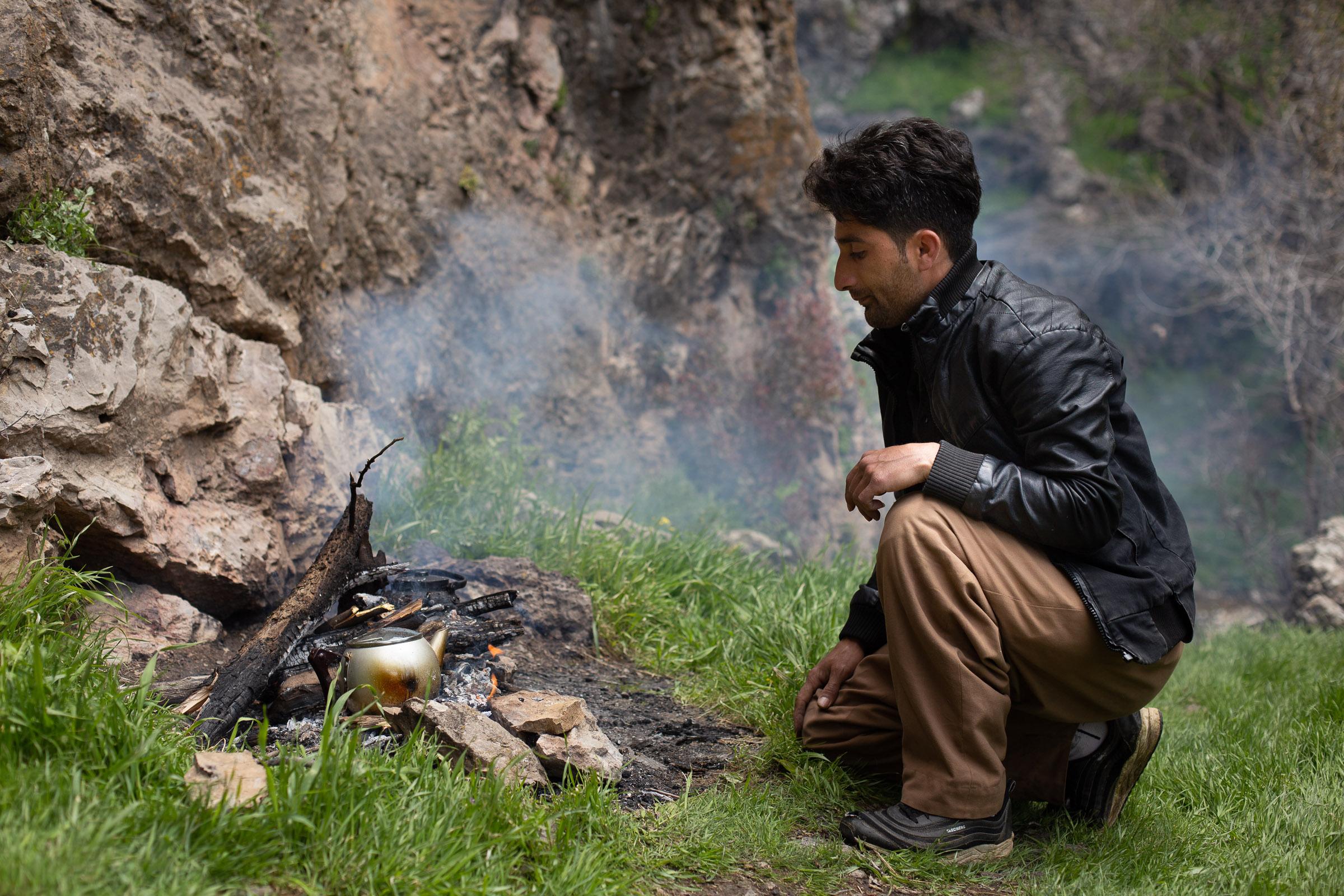 A campfire near Satiari