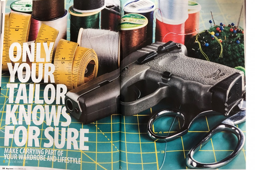 A double-page spread from 'Concealed Carry Magazine' which is something like Better Homes & Gardens but for maniacs.