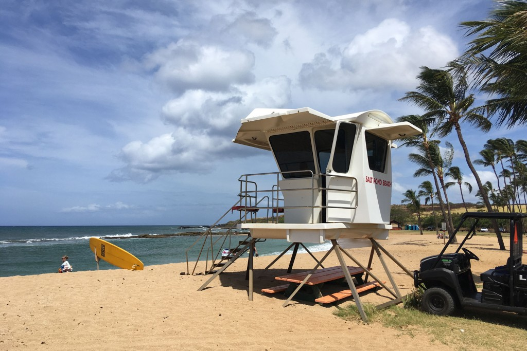Life guard booth overlooking Salt Pond Beach near Hanapepe on the south coast of Kauai.