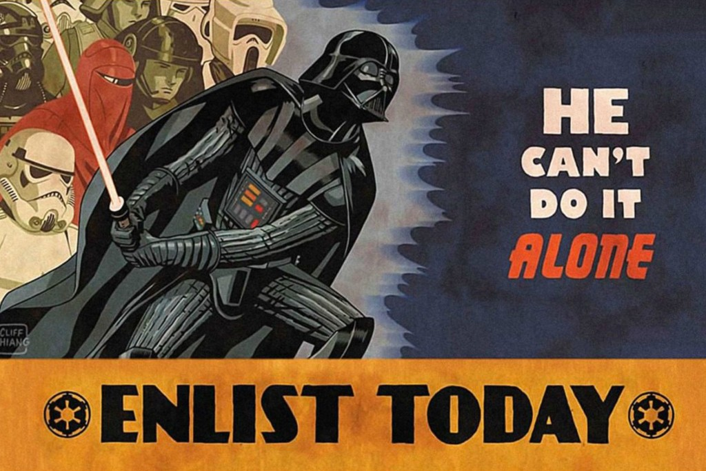 WWII-inspired recruitment poster depicting Darth Vader and the many branches of the imperial army.