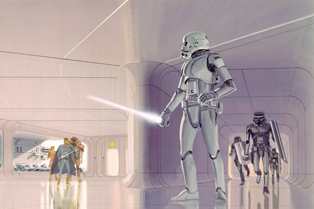 Early stormtrooper concept art for Star Wars by Ralph McQuarrie
