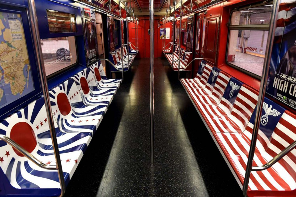 New York subway cars made up to look like propaganda for the fictional world depicted in Amazon's adaptation of The Man in the High Castle.