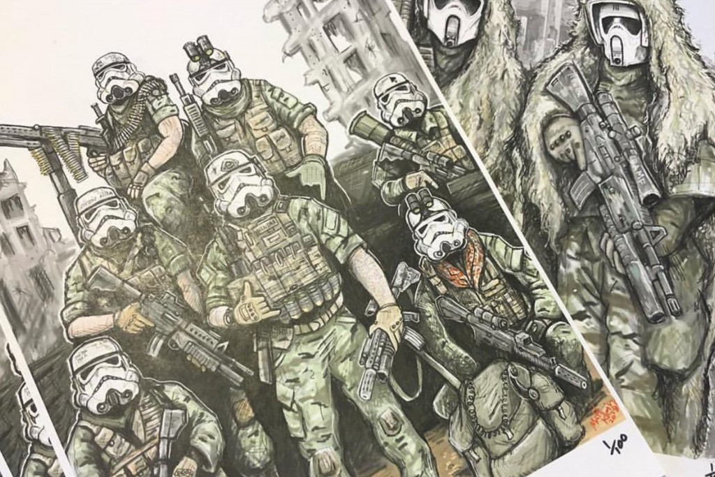 Fan art by US army veteran Matt Rendar depicting US soldiers with stormtrooper masks.