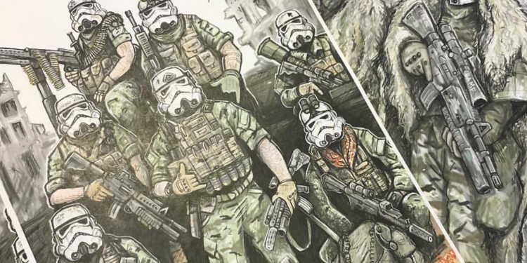 Fan art by US army veteran Matt Klein depicting US soldiers with stormtrooper masks.