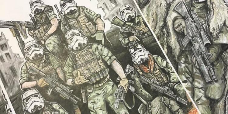 Fan art by US army veteran Matt Klein depicting US soldiers with stormtrooper masks.