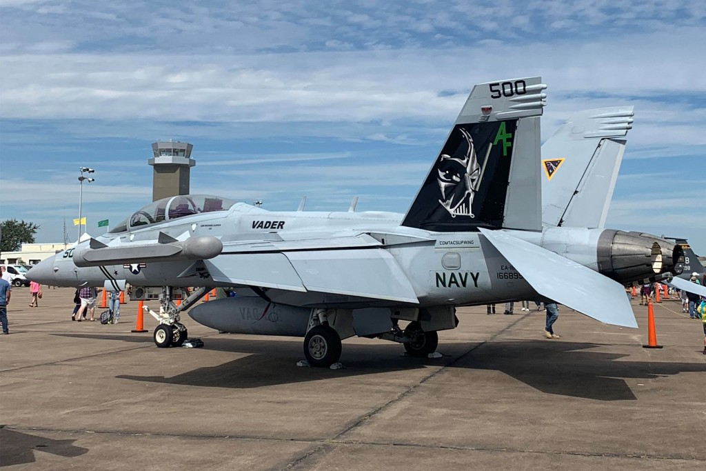 "An EA-18 'Growler' on display at the Houston Air Show in 2019. It belongs to the US Navy's Electronic Attack Squadron 209 known as the ""Star Warriors"". Their official unit insignia is a picture of Darth Vader."
