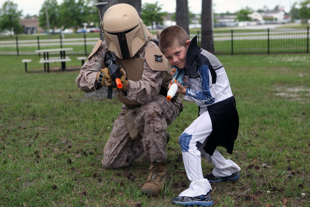 Soldiers and their families dress up as their favourite characters for Star Wars Day at Camp Lejeune, North Carolina.