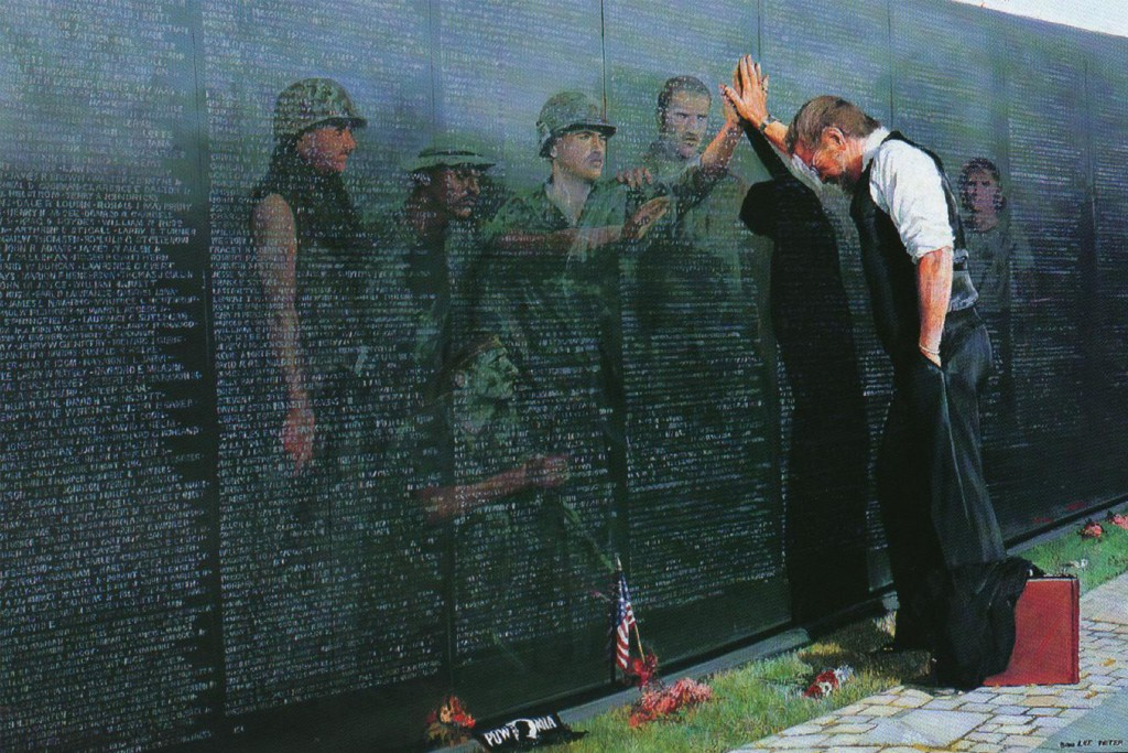 Artist Lee Teter's famous painting 'Reflections' (1988) depicts a Vietnam War veteran grieving for his comrades at the Vietnam Memorial in Washington. Teter gave up the copyright to the work to raise money for a veterans group and went back to painting historical scenes.