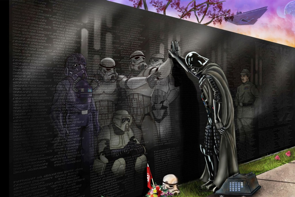 Star Wars-themed take on Teter's 'Reflections' by artist Wil Woods who calls it a 'homage of sorts'. The accompanying description says; Darth Vader showing a rarely seen somber moment of grief as he pauses to mourn the loss of the troops that he lost in the destruction of the 1st Deathstar.