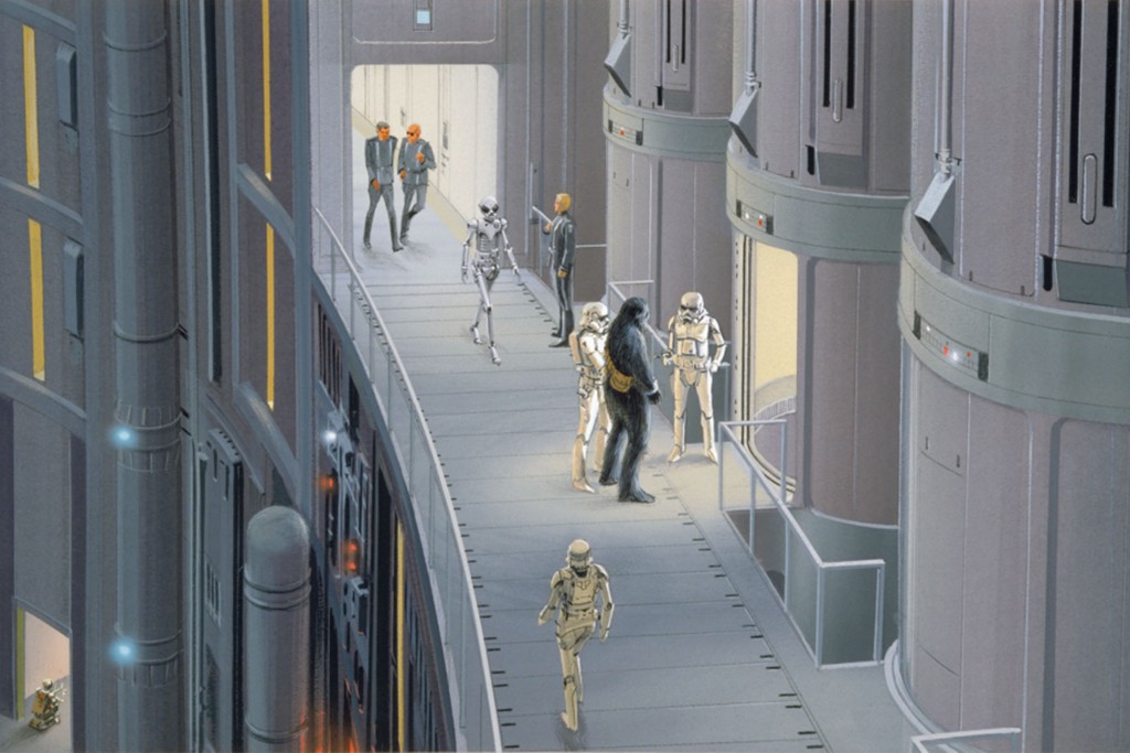 Early concept art of Stormtroopers and the Death Star by concept artist Ralph McQuarrie.