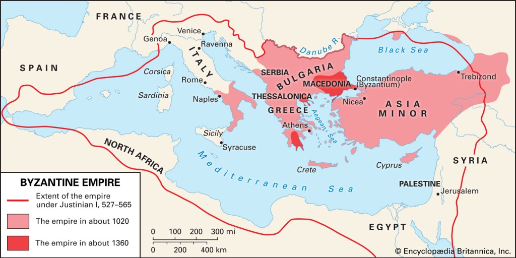 Charting the collapse of the Byzantine Empire from its height  under Justinian in the 6th century to its last enclaves in the 14th century.