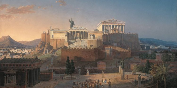 The artist Leo von Klenze was an architect for the Court of the Bavarian King, Ludwig I during the early 18th century. Klenze studied ancient architecture during his travels to Italy and Greece. He also participated in excavations of ancient buildings in Athens and submitted proposals for the restoration of the Acropolis.