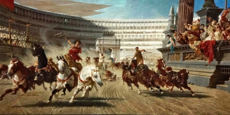 A dramatic depiction of an ancient Roman chariot race by Hungarian painter Alexander von Wagner inspired by Lew Wallace's 1880 best-seller Ben-Hur: A Tale of the Christ.