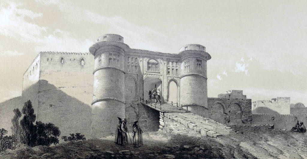 The fortress of Nahavand near modern day Hamadan as imagine by the 19th century artist and archeologist Eugène Flandin.
