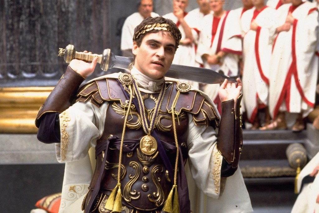 Commodus as depicted by Joaquin Phoenix in Ridley's Scott's Gladiator. The film had Commodus die in the arena but in real life we was strangled to death in the bath by his personal trainer.