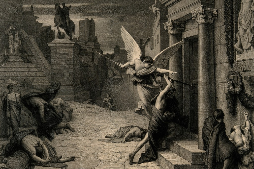 French artist Jules Elie Delaunay depicts an angel commanding death to strike another Roman household with the plague.
