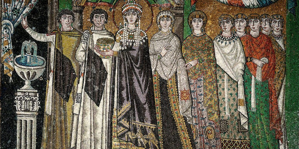 The high fashion of Justinian's court as depicted in the mosaics preserved in the Basilica of San Vitale in Ravenna.