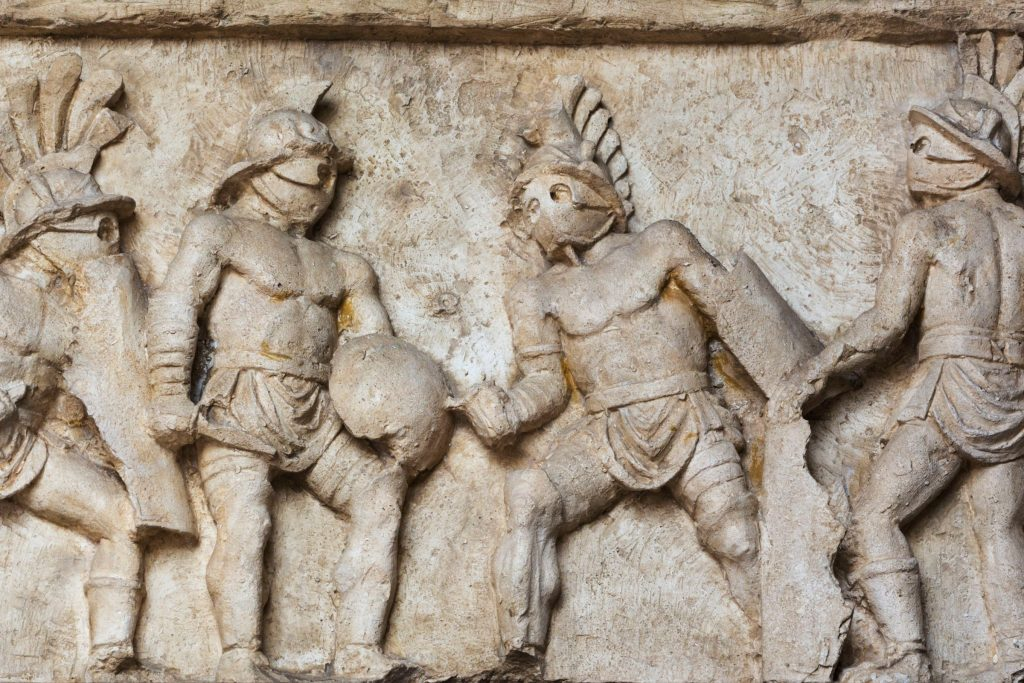 Detail from a marble relief on the funeray monument of Lusius Storax's, ca 30-50 AD.