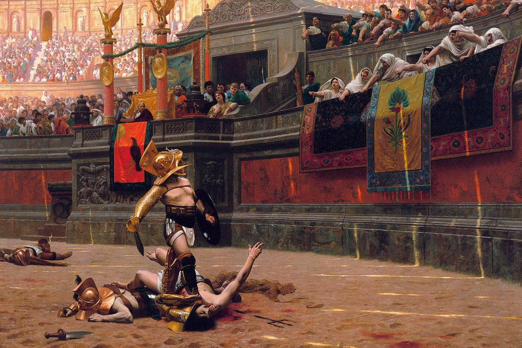 French painter Jean-Léon Gérôme's famous painting 'Pollice Verso' (from Latin: with a turned thumb) shows a crowd in the coliseum demanding the death of a wounded gladiator.